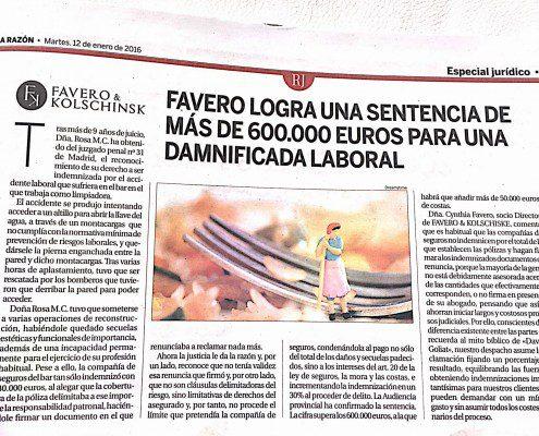 Favero logra una sentencia de más de 600.000 euros para una damnificada laboral