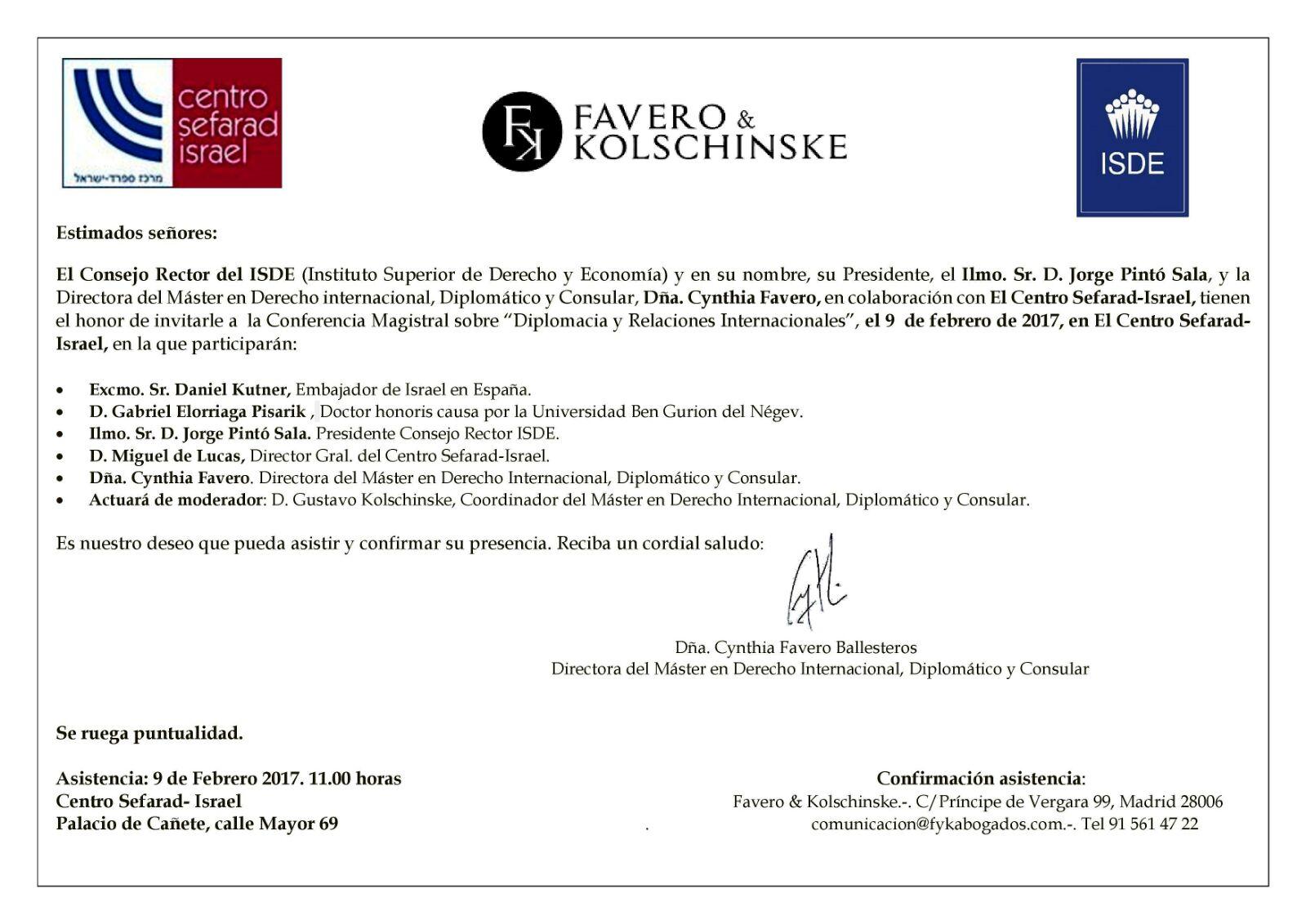 Invitación Conferencia Magistral Diplomacia y Relaciones Internacionales